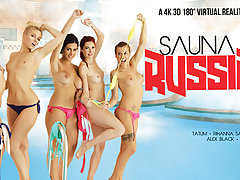 Alex Black  Kattie Gold  Rihanna Samuel  Silvia Dellai  Sweet Cat in Sauna Russian Style part 2 - VRBangers