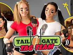 Gina Valentina  Kimber Woods  Liza Rowe in Tailgate Tag Team - WankzVR