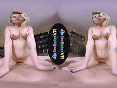 Naughty blonde babe VR porn hardcore sex video