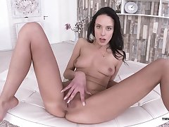 Solo brunette amazes with in all events soft she can handles her off with