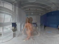 StasyQVR - 180 VR Porn Video - Red Hair, Blue Dress with LunyQ